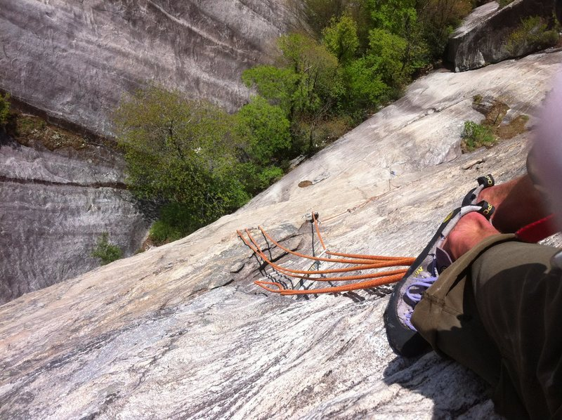 Rock Climbing Photo: looking down while hanging off huge jugs partway u...