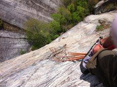 Rock Climbing Photo: looking down while hanging off huge jugs partway u...