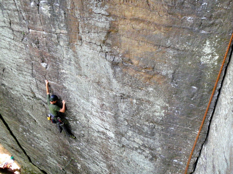 Nate Fasel of Illinois Red-pointing his hardest gear lead to date. Photo by Ryan Quinn on my crappy point and shoot