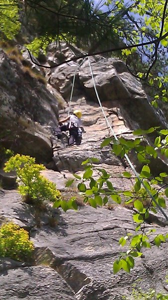 Rock Climbing Photo: Debbie on the top half of the first pitch of Lonel...