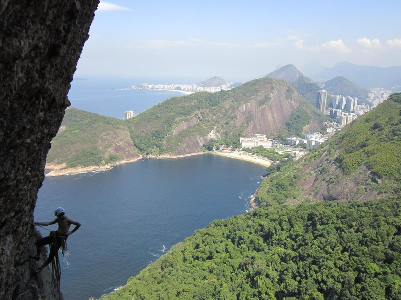Climbing on the Totem, on Pao de Acucar (Sugarloaf).