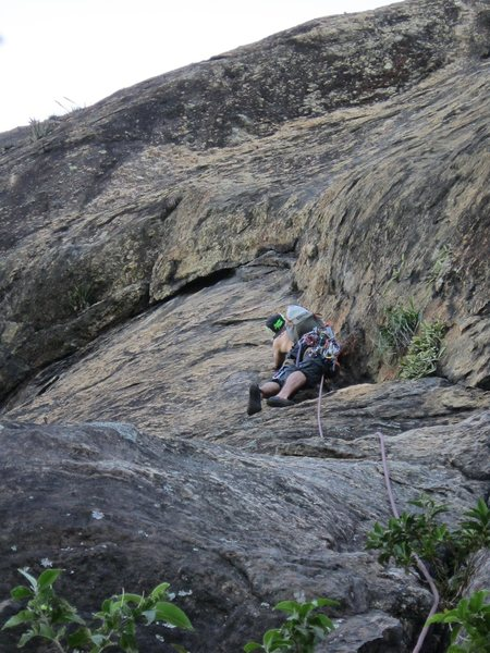 Rock Climbing Photo: Looking up at the start of Cavalo Louco and Via do...