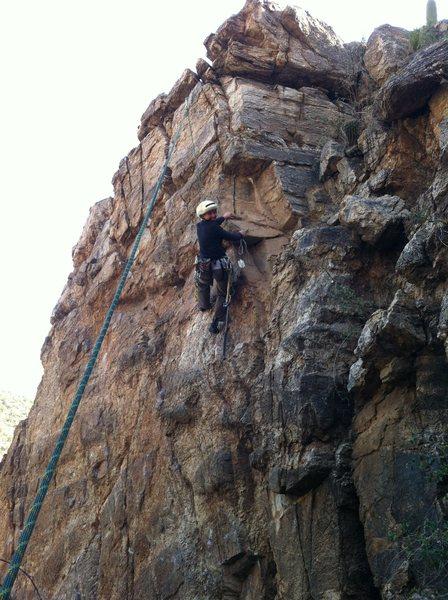 """Rock Climbing Photo: Kristina cleaning loose rock off """"Bebop"""""""