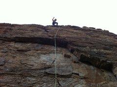 """Rock Climbing Photo: Kristina atop """"Michelangelo"""""""