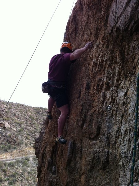 """Rock Climbing Photo: Mike working out the delicate sequence for """"K..."""