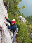 """Rock Climbing Photo: Reinke cleaning up """"Weissner's Face"""""""