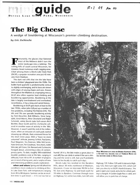 Rock and Ice article issue #99 April 2000. Permission secured from Eric Zschiesche and Rock and Ice. Page 100 (First Page).