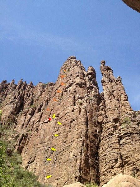 Rock Climbing Photo: Follow the arrows to the red ball, then follow the...