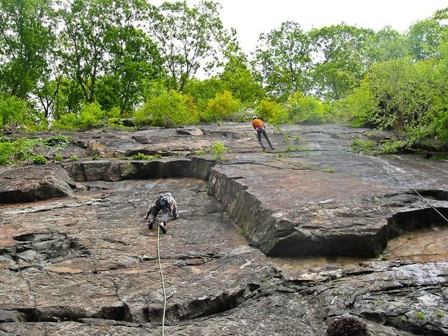 Rock Climbing Photo: Leading Who Shot Bambi, Zach lowering from Slab Ma...