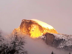 Rock Climbing Photo: Avalanche on Half Dome at sunset - viewed from El ...