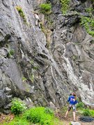 Rock Climbing Photo: Michael on the slabby start to Autumn Arch; often ...