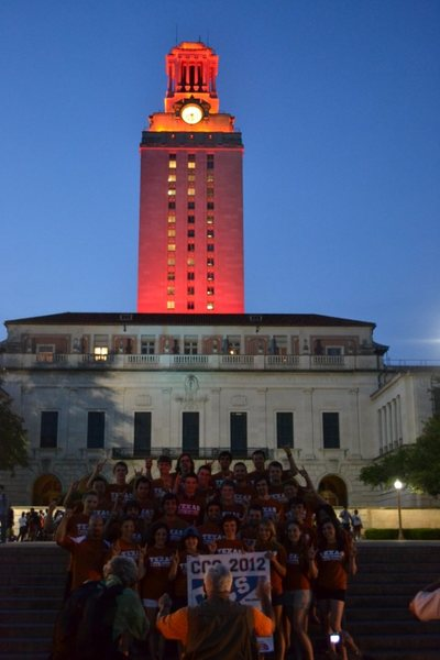 The Texas Tower, Burnt Orange in honor of the Climbing Team Champions