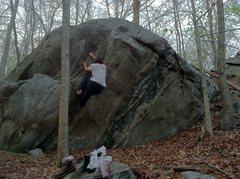 Rock Climbing Photo: working up the diagonal crack.