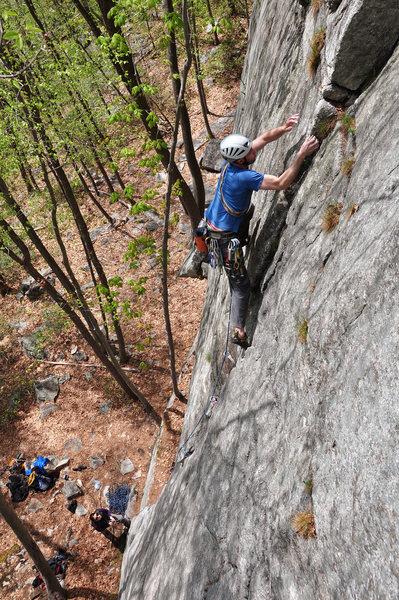 Rock Climbing Photo: Mark Mooradian almost through the hard part.