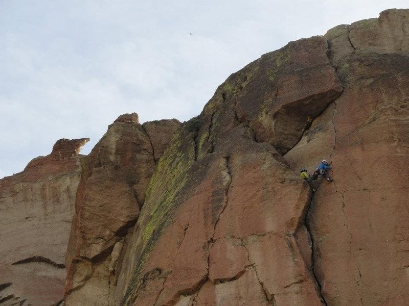 Rock Climbing Photo: Stepping into the finger crack of pitch 3.  Photo ...