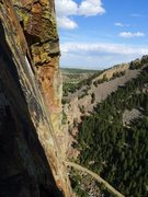 Rock Climbing Photo: Exposed traverse as viewed from Grand Giraffe.