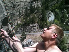 Rock Climbing Photo: Me belaying in the creek side wall pocket.