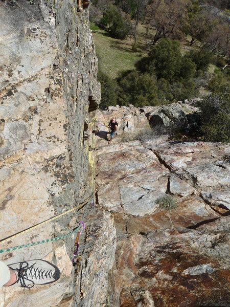 Rock Climbing Photo: Looking down at the start of the second pitch from...