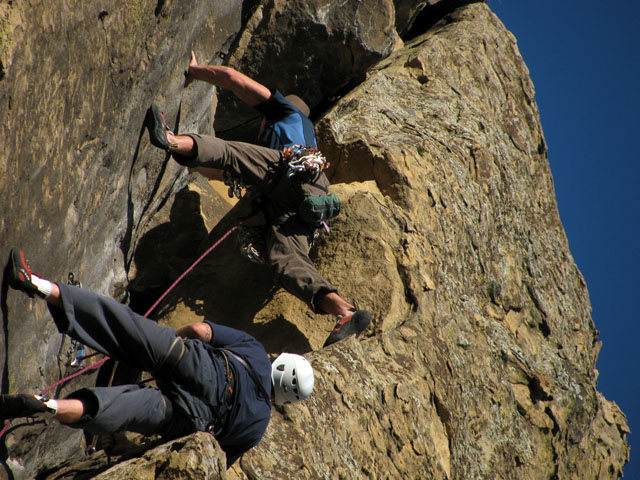 Rock Climbing Photo: Ben & Jeff at the Cruxy roof/ block- just after th...
