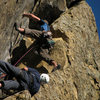 Ben & Jeff at the Cruxy roof/ block- just after the belay