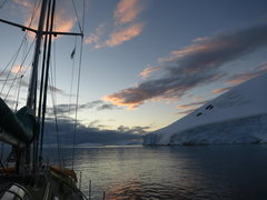 yacht moored on antarctic peninsula