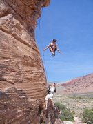 Rock Climbing Photo: Big whipper from the anchor