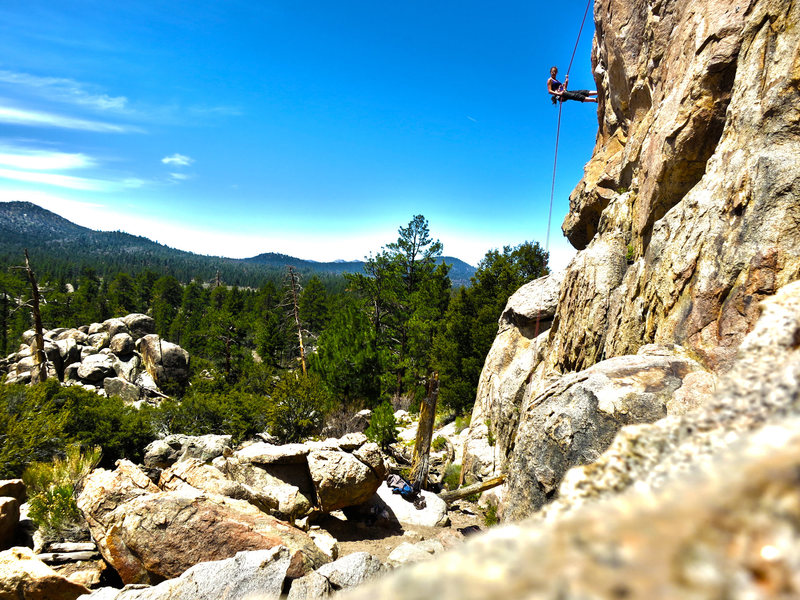 Mandie rappeling.  Coyote Wall, Holcomb Valley Pinnacles.