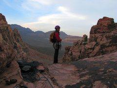 Rock Climbing Photo: Atop Crabby Appleton in Pine Creek Canyon, RR on 5...