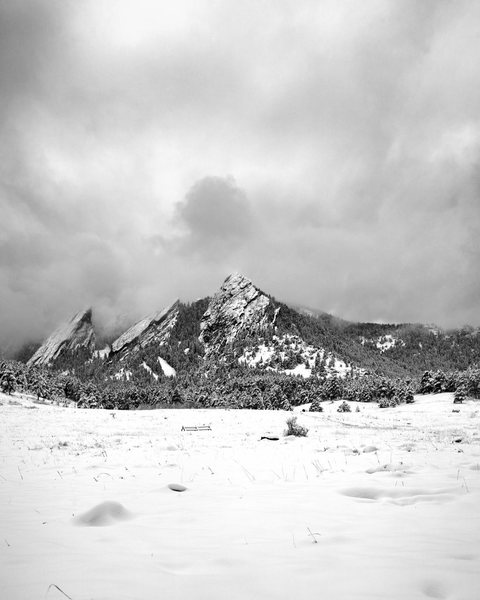 The Flatirons in an early winter storm.  Perfect hiking weather!