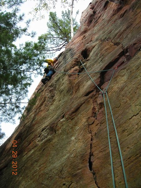 Pitch 2 of 10 hour lead marathon 4-29-12.  I liked the way Doug's ropes were running here.