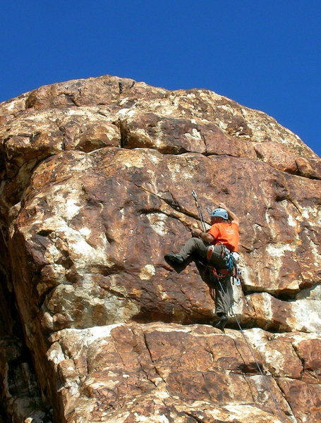 Rock Climbing Photo: Stepping onto the final headwall is a little thin.