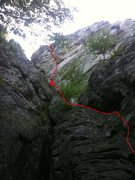 Rock Climbing Photo: Route line with the circled x indicating the appro...