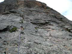 Two new bolts (with orange flag tape for the photo) on the approach slabs to P-Crack.