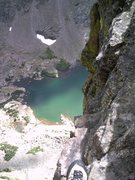 Rock Climbing Photo: Sky Pond from the Petit's summit anchors.