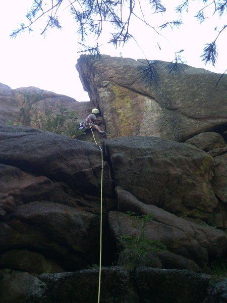 John leading in Stultz area.  Oak Creek Canyon.