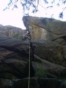Rock Climbing Photo: John leading in Stultz area.  Oak Creek Canyon.