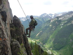 Rock Climbing Photo: On rappel getting off the Ophir Needle.  John phot...