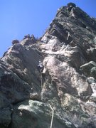 Rock Climbing Photo: Carson on FA pitch 2. Newlin Creek, CO.