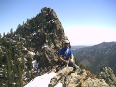 Rock Climbing Photo: Carson on top of Capt. Winters Spire.