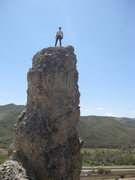 Rock Climbing Photo: On top of the third bolted tower at the Witches. I...