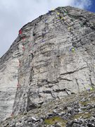 Rock Climbing Photo: Red: Lusting after Women, 5.10d Black: South Face,...