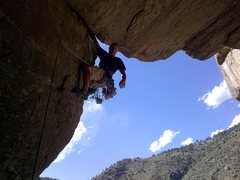 Rock Climbing Photo: Mike Keegan nearing the wide section, just below t...