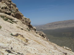 Rock Climbing Photo: top of solar slab gully, vegas in back