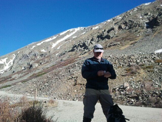 Rock Climbing Photo: Alan on road below Christo Couloir, Quandary - sno...