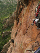 Rock Climbing Photo: Jason Patton following the great 4th pitch of Litt...