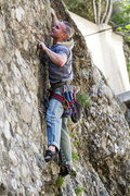 Rock Climbing Photo: James pulls the mono pocket on the way to the 3rd ...