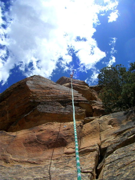 My bro on the top of True Grit in Unaweep Canyon