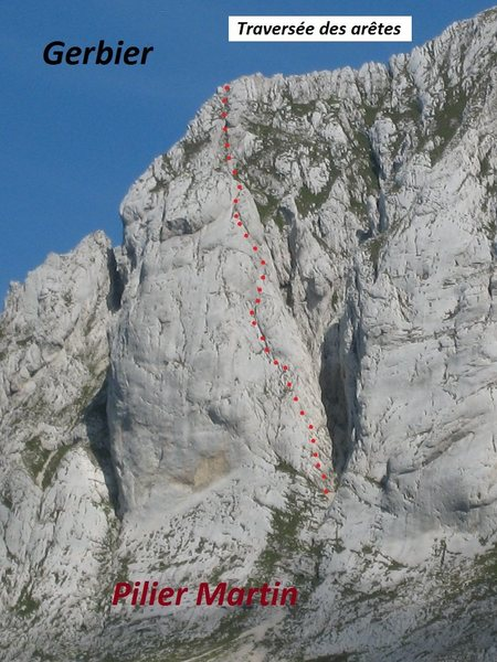 Rock Climbing Photo: Approximate route location of Pilier Martin on Ger...