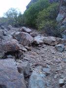 Rock Climbing Photo: Loose approach gully.
