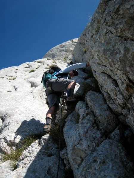 Carol starts up the first crack pitch on Pilier Martin